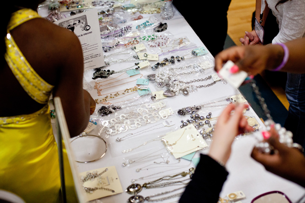 Students got to choose from a wide variety of jewelry to complete their outfit